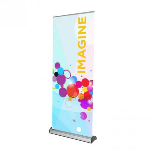 Imagine plus cassette banner - full view - exhibition display