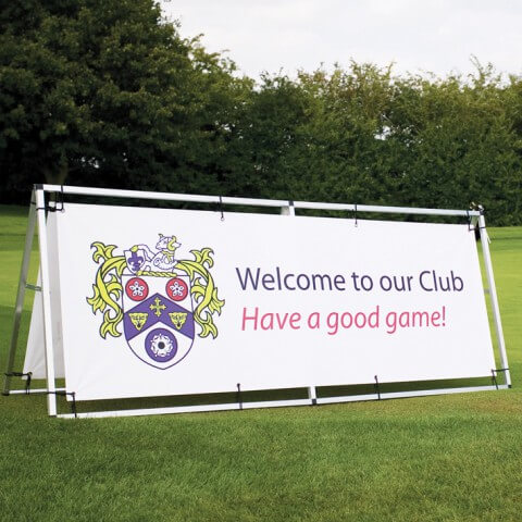 Monsoon outdoor banner- graphic example - welcome to our club