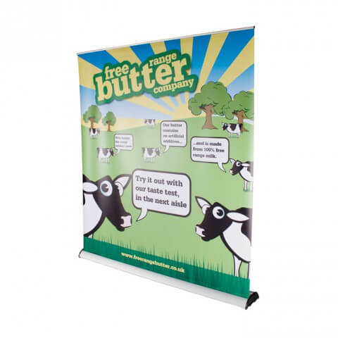 Original 2 roller banner - graphic example - free range butter