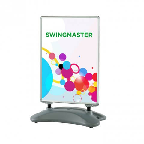 H20 Swingmaster pavement sign - full view - exhibition display