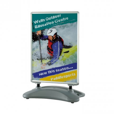 H20 Swingmaster pavement sign - graphics example - Wells outdoor
