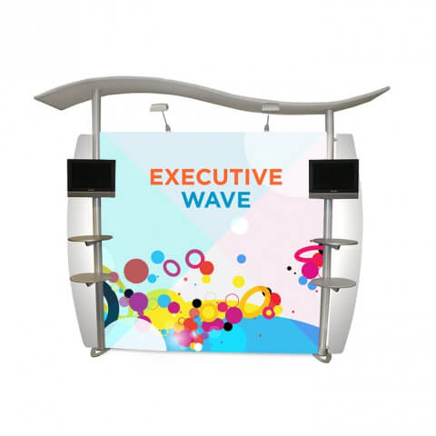 Linear executive wave display stand - full view - exhibition display