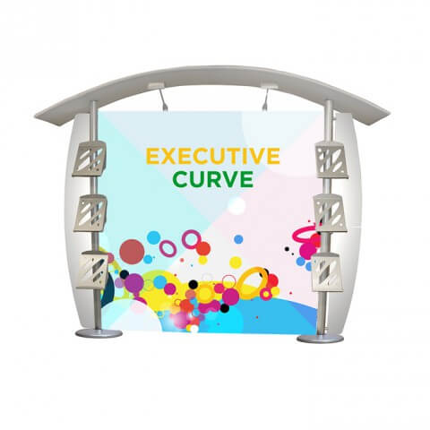 Linear executive curve display stand - full view - exhibition display