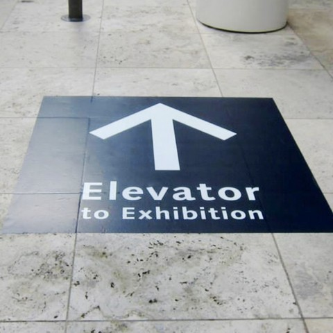 Infomation floor graphics show the way