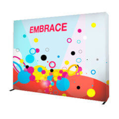 Embrace fabric pop-up display with dots and swirl images