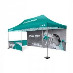 Zoom tent with half walls