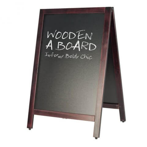Wooden A board for liquid chalk pens