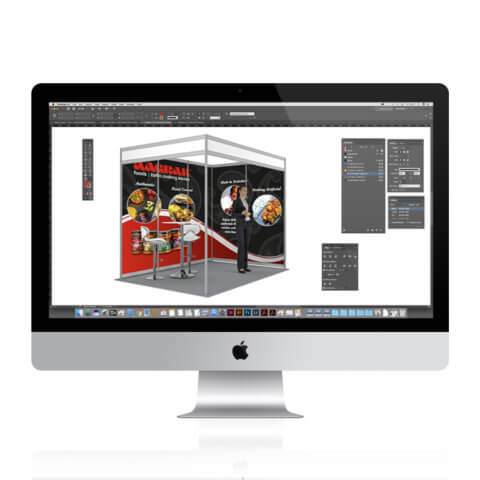 iMac with an InDesign artwork example