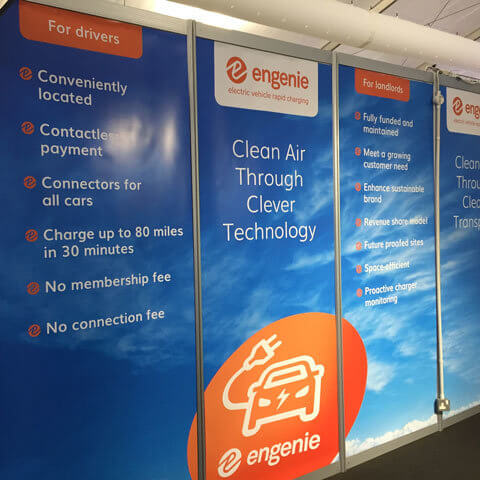 Vbanner for Engenie on shell scheme at an exhibition