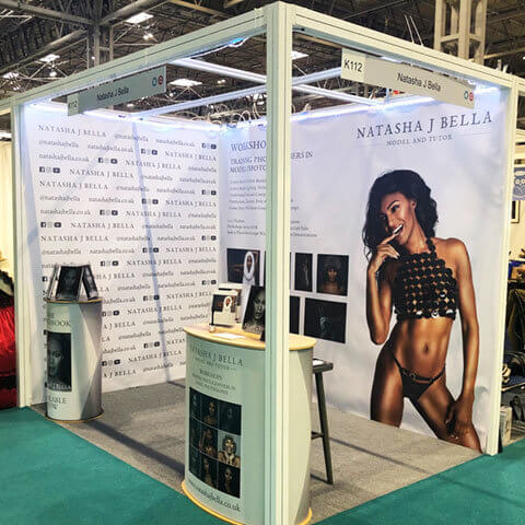 Vbanner for Natasha J Bella on shell scheme walls Birmingham NEC