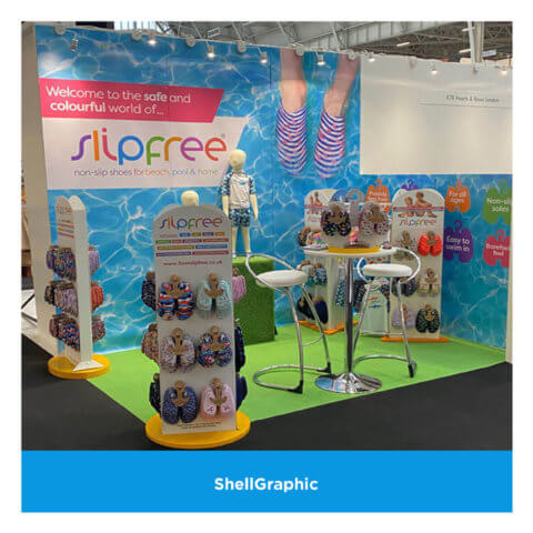Shellgraphic panels for Slipfree at an exhibition