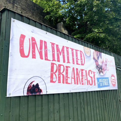 Outdoor banner for Brewers Fayre