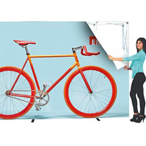 Embrace fabric pop-up 1x3 Display 4x3 Display revealing framework