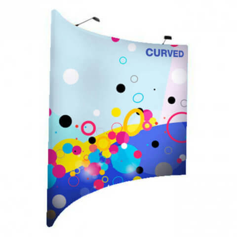 Horizontal curved fabric display