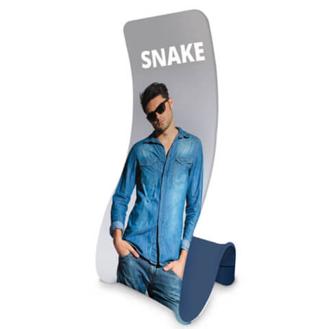 Formulate Snake Fabric Display image with man in sunglasses