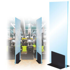 L-Bracket Social Distancing Screen Divider in supermarket