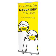 banner stand with wear face masks message