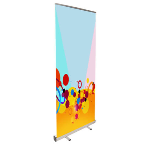 Budget Banner Stand with colourful fresco graphic