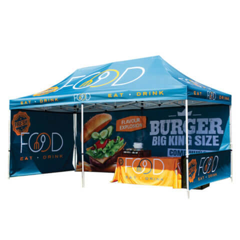 Zoom Tent Frame 6x3 with Burger Graphics